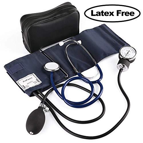 LotFancy Manuelle Blutdruckmanschette, Aneroid Blutdruckmessgerät und Stethoskop Set mit Reißverschluss-Etui, CE zertifiziert