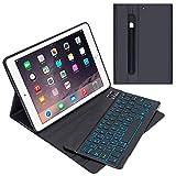 GACHI Tastatur Hülle 9.7 kompatibel mit iPad 2018(6. Gen.), 2017 iPad (5. Gen.), iPad Air 2, iPad Air, Pro 9,7 Magnetische Abnehmbare Deutsche Tastatur mit 7 Farbiger Backlight und Bleistifthalter