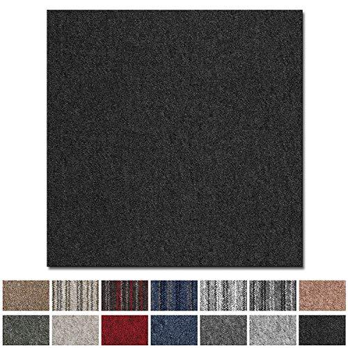 Teppichfliesen Vienna selbstliegend | Rücken: Bitumen, rutschhemmend | Strapazierfähig | Bodenbelag für Büro und Gewerbe | 50x50 cm | Viele Farben (Hellgrau)