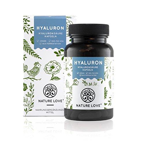 Hyaluronsäure Kapseln - Hochdosiert mit 300 mg. 90 Stück (3 Monate). Laborgeprüft, ohne Magnesiumstearat. Hyaluron aus Fermentation mit 500-700 kDa (mikro-molekular). Vegan, hergestellt in Deutschland
