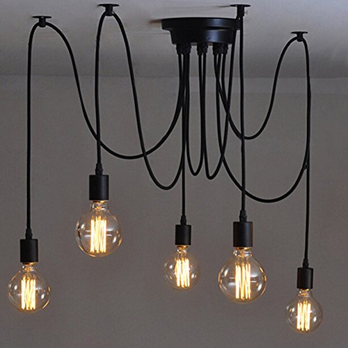 E27 Creative Edison Kronleuchter Antique DIY Kronleuchter 5 Köpfe Lampen Vintage Industrial Deckenleuchte Pendelleuchte Leuchte Retro Industrial Dining Hall Schlafzimmer Hotel Home Lighting Zubehör