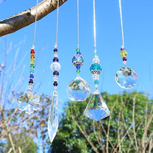 YUFENG Set mit 5 Kristall-Sonnenfänger-Perlen, Kette, Kronleuchter, Lampen, Licht, Vorhang, Hochzeitsdekoration, Geschenk