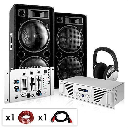 PA Komplett-Set N.Y. Fireblade 2000 Watt Party-Musikanlage mit 1600 Watt Verstärker, 3-Kanal-Mixer, DJ-Kopfhörer & inkl. Boxenkabel (für bis zu 400 Personen, 4x 30cm Subwoofer, Stereo-Cinch-Eingang für MP3-Player)