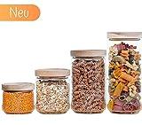Econovo Vorratsgläser Set mit Deckel (4-teilig) aus verstärktem Borosilikatglas, stapelbar und luftdicht, Vorratsdosen Glas-Behälter Set für Lebensmittel groß und klein 1000ml/700ml/500ml/300ml