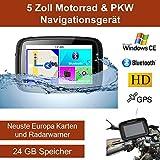 Elebest 5 Zoll PKW/Motorrad Navigationsgerät,Bluetooth,Wasserdicht,Neuste Europa Karten sowie Radarwarner, 24GB Speicher,Kostenlose Kartenupdate