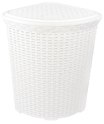 Eckkorb XXL Wäschekorb Wäschebox Wäschetruhe Wäsche Rattan Kunststoff praktisch (Weiß)