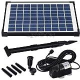 Agora-Tec AT-10W Solar Teichpumpe 10 Watt, Hmax.: 600l/h Fontainenhöhe: 1,00m für Gartenteich oder Springbrunnen