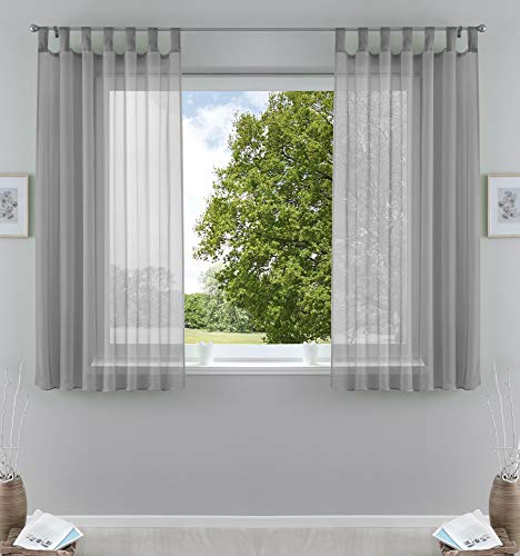 2er-Pack Gardinen Transparent Vorhang Set Wohnzimmer Voile Schlaufenschal mit Bleibandabschluß HxB 175x140 cmGrau, 61000CN