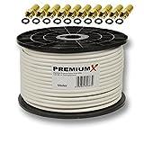 100m PremiumX PROFI Koaxial Kabel 130 dB 4-Fach geschirmt, REINES KUPFER SAT Antennenkabel 100 m 135 120 110 + 10 F-Stecker 7,5mm in Farbe 'Gold' GRATIS DAZU