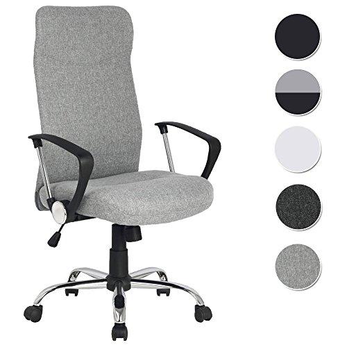 SixBros. Chefsessel Bürostuhl Drehstuhl Schreibtischstuhl Stoffbezug Grau H-935-6/2165
