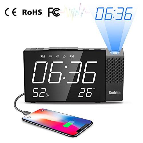 Projektionswecker, Cadrim Digital Projektionswecker mit Temperatur und Zeit-Projektion, LED- Display 6,3' FM Radiowecker mit Projektion/Uhrenradio, digitaler Wecker Datensicherung mit Batterie am Stromausfall, 180° Dreh-Projektor, 180° Flip-Anzeige