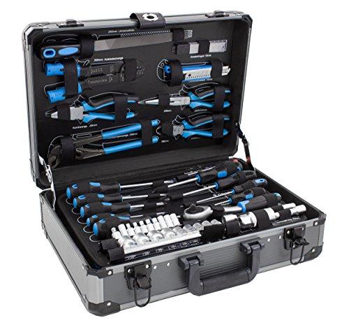 Karcher Werkzeugkoffer, 101-teiliges Werkzeugset mit Hammer, Schraubendreher, Nagelset (200 Teile), Steckschlüsselsatz, Zangenset, Säge uvm.