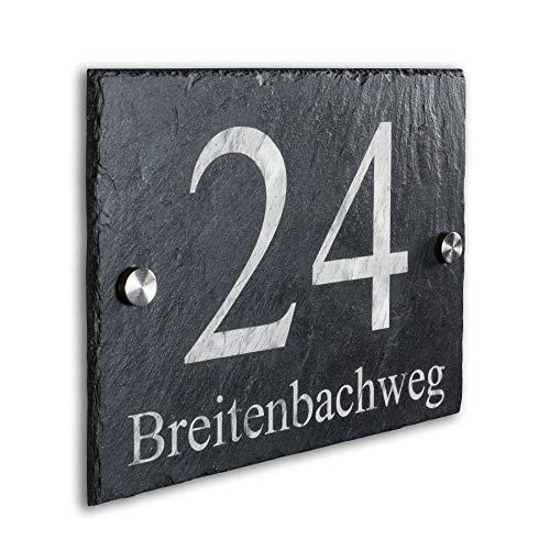Hausnummer-Schild Natur-Schiefer rustikal inkl. Gravur – Unterputz-Montage