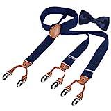 HBF Hosenträger mit den 6 starken Clips und Fliege KIT mehrfarbig elastisch Y-formoig Länge für Damen und Herren Playshoes in verschiedenen Designs
