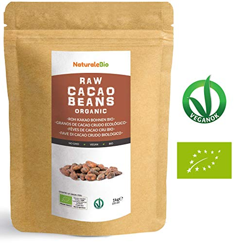 Roh Kakaobohnen Bio 1Kg | Organic Raw Cacao Beans | 100% Rohkost, Natürlich, Rein | Produziert in Peru aus der Theobroma Cocoa Pflanze | Superfood reich an Antioxidantien, Mineralien und Vitaminen.