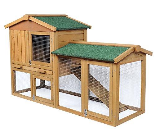 EUGAD Hasenstall Kaninchenstall Massivholz Kleintierstall Hasenkäfig mit Treppe 0034HT