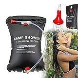 Qdreclod Campingdusche Solardusche Tasche,20L Tragbare Solar Gartendusche Outdoor Warmwasser Dusche Reisedusche mit Duschkopf, Schlauch, Griffstange und Seil zum Aufhängen
