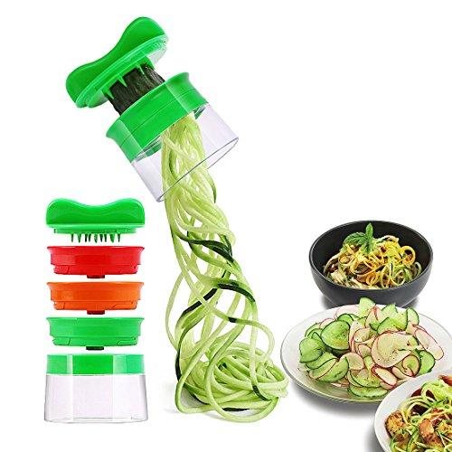Spiralschneider, Rissen Spiralschneider Hand für Gemüsespaghetti, 3-Klingen Gemüse Spiralschneider Gemüseschneider, Gemüsehobel für Karotte, Gurke, Kartoffel,Kürbis, Zucchini, Zwiebel [Lebenslange Garantie] (Grüne)