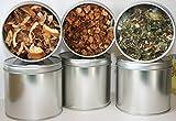 6 Teedosen, Motiv: uni silber mit Sichtdeckel, für ca. 100g Tee (frachtfreie Lieferung innerhalb Deutschlands ab 20 EUR Einkaufswert)