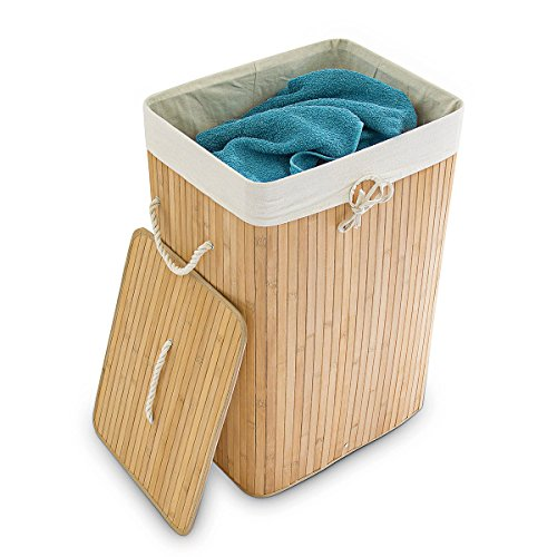 Relaxdays Wäschekorb Bambus, faltbare Wäschetruhe rechteckig, 83 L Volumen, H x B x T: ca. 65,5 x 43,5 x 33,5 cm, natur
