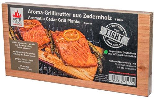 "Masterpiece ""light"" Aroma Grillbretter aus Zedernholz, 12 mm stark, Räucherbretter in Premium Qualität, Set á 2 Stk, Maße: 145 x 295 mm"