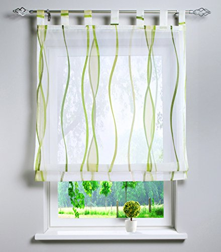 Voile Raffrollo mit Wellen Druck Design Rollos Schlaufen Transparent Vorhang (BxH 120x140cm, grün)