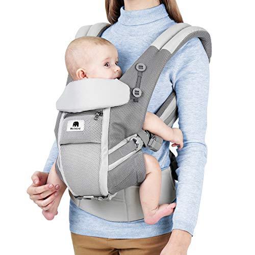 Meinkind Babytrage/Bauchtrage/Rückentrage/Baby Carrier mit Kapuze für Neugeborene bis 48 Monate(3.2-20kg) Kleinkind Kindertrage für 4 Tragepositionen, Grau