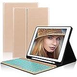 D DINGRICH Tastatur Hülle für ipad 2018, ipad 2017, ipad Pro 9.7, ipad Air 1, ipad Air 2-7 Farben Hinterleuchtet- QWERTZ Tastatur- Stifthalter- Magnetisch Schlaf/Wach- iPad Hülle mit Tastatur - Gold...