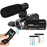 Video Camcorder, ACTITOP 1080P FHD-Camcorder 24MP 16X DigitalzoomVideokamera 3,0 Zoll Bildschirm Gesichtserkennung LED Licht Camcorder Kamera mit externem Mikrofon, Fernbedienung, 2 Batterien