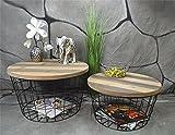 Livitat Beistelltisch Couchtisch 2er Set rund rostig Vintage Metall Industrie Loft Living LV5029