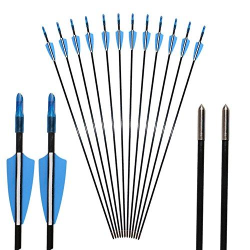 Toparchery Pfeil und Bogen: 12 Pfeile für Bogenschießen 31 Zoll Fiberglaspfeile für Recurvebogen und Langbogen Zuggewicht 35 lbs