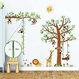 Decowall DM-1401P1402 8 Affen Groß Baum Zweig Höhentabelle Waldtiere Tiere Wandtattoo Wandsticker Wandaufkleber Wanddeko für Wohnzimmer Schlafzimmer Kinderzimmer