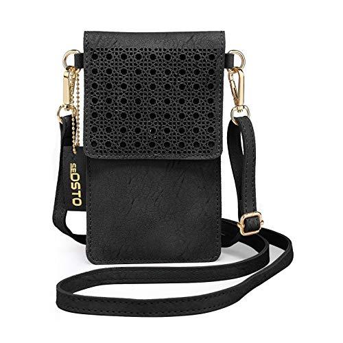 SeOSTO Handy Schultertasche, Kleine Tasche Umhängetasche für Damen Frauen (Schwarz)