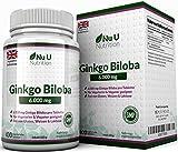Ginkgo Biloba 6000mg Tabletten - 400 Hochdosierte Gingko Biloba Extrakt Tabletten - Frei Von Allergenen und für Vegetarier und Veganer Geeignet - Hergestellt in Großbritannien durch Nu U Nutrition