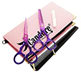 CANDURE Professionell Haarscheren Set - friseurscheren - Haarschneideschere - Friseurschere set - Mikroverzahnt Effilierschere Modellierschere Friseur Scheren Set, 5.5'' (13,97cm), Rosa und Lila