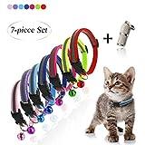 Andiker Reflektierendes Katzenhalsband, Nylon, 7 Stück, mit niedlichem Glöckchen und Erkennungsmarke, verstellbar, für kleine Hunde, Mehrfarbig und leicht