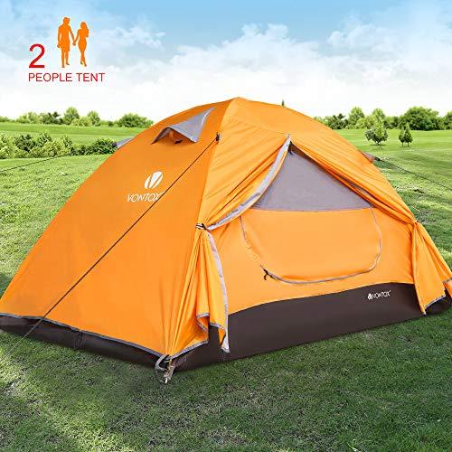 V VONTOX Camping Zelt, 2 Personen Wasserdichtes Ultraleichte Kuppelzelt, 3-4 Saison, Einfach Installieren und Bewegen, für Familien Reisen, Strand, Camping und Outdoor