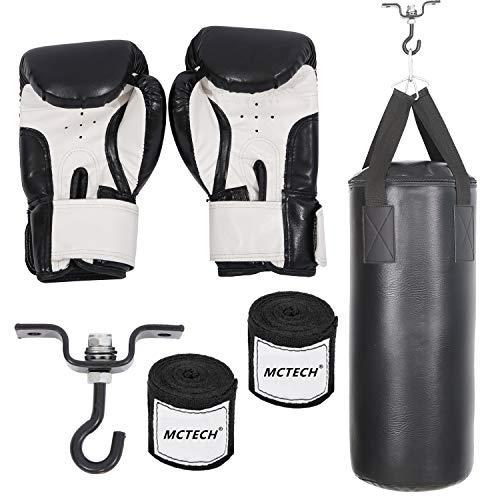 Aufun Boxsack Set Gefüllt 10KG für Erwachsene und Kinder inkl. Boxhandschuhen, Boxbandagen und Tasche Ideal für Boxen und Kickbox Training - Schwarz