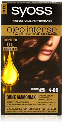 Syoss Oleo Intense Haarfarbe, 4-86 Schokoladenbraun, 3er Pack (3 x 115 ml)