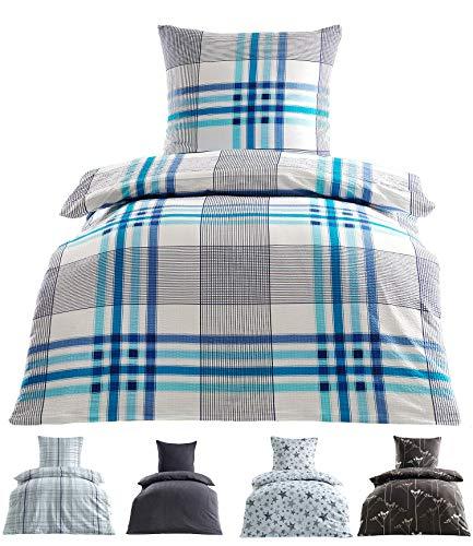 Seersucker Bettwäsche Baumwolle bügelfrei mit Reißverschluss in 2 Größen 135x200 cm 80x80 cm Victor blau