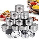 Janolia Magnetische Gewürzdosen, 12 Stück Rund Spice Container Aufbewahrungsboxen, Transparent Top, Swift Gießen, magnetisch Stick auf Kühlschrank