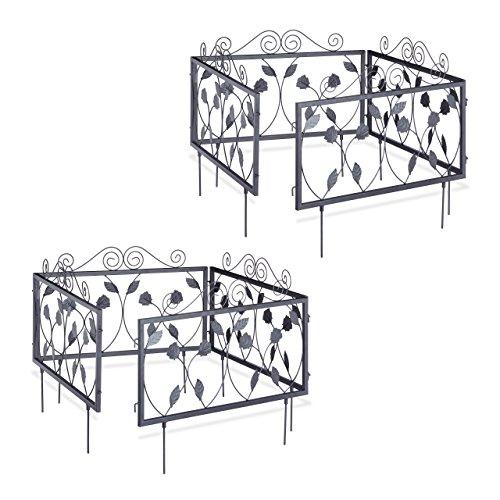 Relaxdays 8er Beetzaun Set GOTH, nostalgische Beetbegrenzung, Beeteinfassung 9 m zum Stecken, 8 Zaunelemente mit Blatt Ornamenten