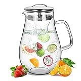 AckMond 1400 ml Karaffe Glas mit Deckel aus Edelstahl und Auslauf Glaskaraffe Wasserkrug mit Griff, für Homemade Saft (1900 ml Wasserkaraffe)