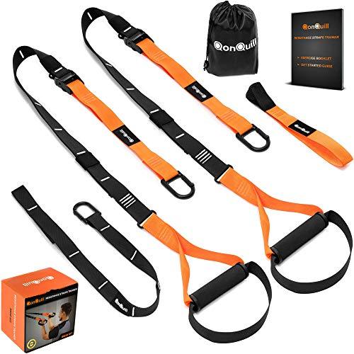 QonQuill Körpergewicht Fitness Training Kit   Widerstand Trainer für Full Body Abschluss Mehrere Verankerung Lösungen mit Einfaches Setup für Home, Gym & Outdoor Workouts