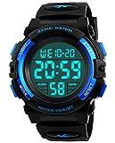 Jungen Digitaluhren, Kinder Sport 5 ATM wasserdicht Digital Uhren mit Alarm/Timer/El Licht, Blau Kinderuhren Outdoor Armbanduhr für Jugendliche Jungen von BHGWR