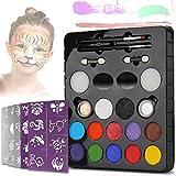 Kinderschminken Schminkfarben LeCou 12er Schminkset kinder, 2 Glitzer und 4 Pinsel , Schminkasten Tiermasken Körperfarben für Kinder Halloween Karneval Make-up Gesichtsfarbe Bodypainting