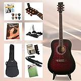 Einsteiger Westerngitarre Set XXL mit viel Zubehör, Gitarrenständer, gefütterter Gitarrentasche, Clip-Stimmgerät, Gitarrengurt, Saiten, 6 Plektren und hervorragendes Gitarrenbuch incl. CD (Rot)
