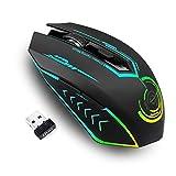 Kabellose Gaming-Maus, Bis zu 10000 DPI Programmierbare Gaming-Maus mit 6 Programmierbaren Tasten, 7 Wechselbaren Farben, Ergonomische Makro-MMO-RPG für PC-Computer, Laptop, Spielekonsole