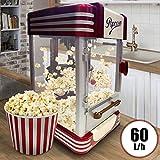 Popcornmaschine Retro | 60L/h, 200g/10min, Edelstahl Topf, für süsses und salziges Popcorn | 50er Jahre Look, Profi Popcorn Maker, Zubereiter, Automat