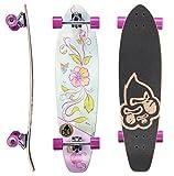 STAR-SKATEBOARDS Premium Canadian Maple Top Mount Komplett Pro Longboard Skateboard für Kinder und Erwachsene auch Anfänger ab ca. 8 - 10 Jahre  65mm Flex Carving/Cruiser Edition  Hibiscus Design